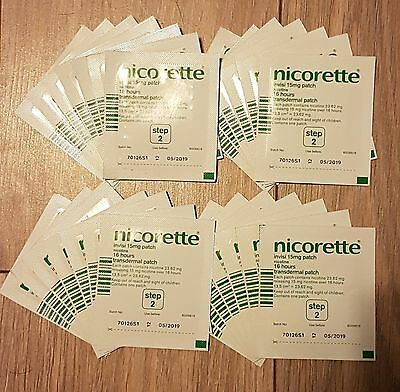 28 Nicorette 15Mg 16Hr Invisi Patches Step 2 Unboxed Expiry Date 04/2019