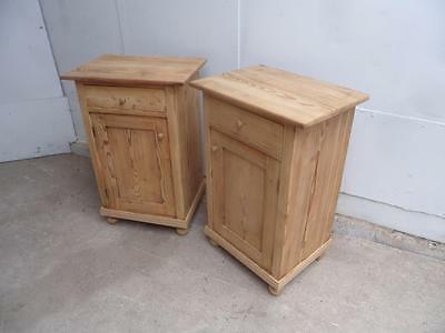 A Cracking Pair of Large Victorian Antique Pine Bedside Cabinets to Wax/Paint