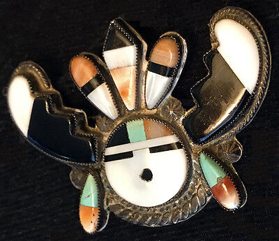 Best Rare Museum Quality Zuni 1940s Elaborate Sun Face Pin Brooch Mosaic Inlay