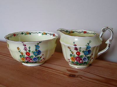 Vintage Crown Staffordshire Hollyhock Milk Jug And Bowl Hand Painted Floral