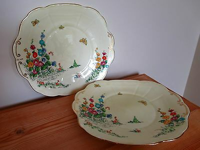 Two Vintage Crown Staffordshire Hollyhock Sandwich Plates Hand Painted Floral