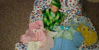 """1967- IDEAL 9"""" Newborn THUMBELINA Doll w Lots of Clothes! CLEAN AND RARE!!! #2"""