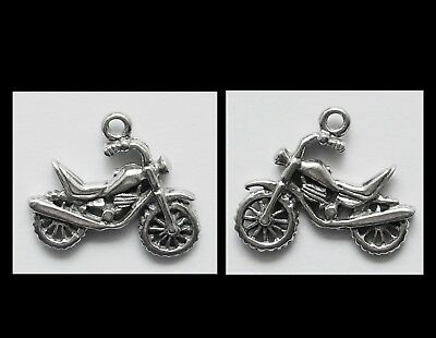 PEWTER CHARM #2011 x 2 MOTOR BIKE double sided (22mm x 15mm) motorcycle