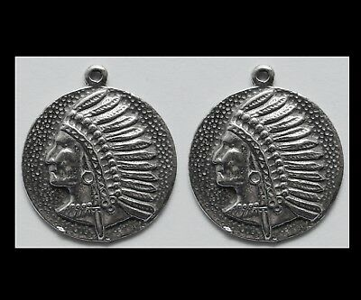 PEWTER CHARM #2020 x 2 NATIVE AMERICAN INDIAN CHIEF circle (20mm x 22mm)