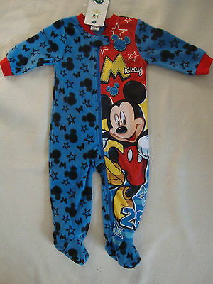 DISNEY MICKEY MOUSE 1 piece FLEECE FOOTED ROMPER  NWTS 6-12 months