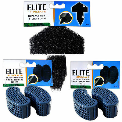 Elite Stingray 5 10 15 Foam & Carbon Cartridge Media Replacements x1, x3, x6
