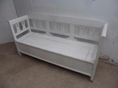 An Old Victorian Antique Pine Painted White Shabby Chic 3 Seater Box SettleBench