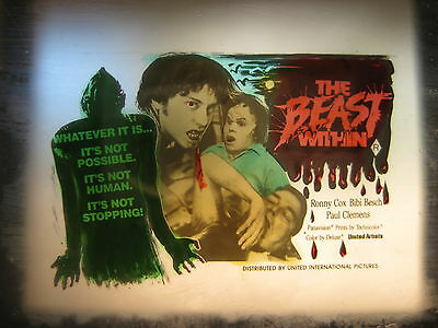 THE BEAST WITHIN 1982 Australian cinema movie projector glass slide horror art