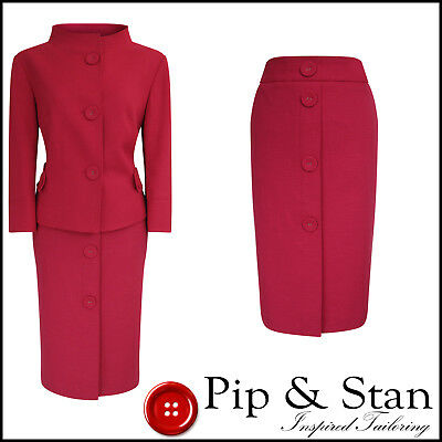 Next Pencil Skirt Suit Pink Size Uk14 Us10 Women Ladies 60S Inspired