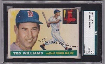 1955 Topps #2 TED WILLIAMS SGC 2.5 G+ Boston Red Sox Vintage Old Baseball Card