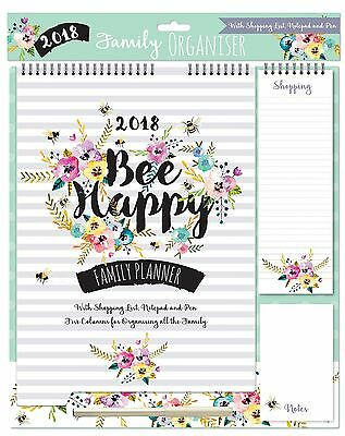 2018 Family Organiser Calendar Memo Pad, Pen Shopping List - Floral With Bees