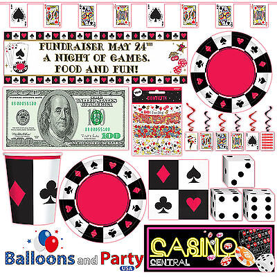 Casino Card Suit Gambling Birthday Party Tableware Decorations Supplies