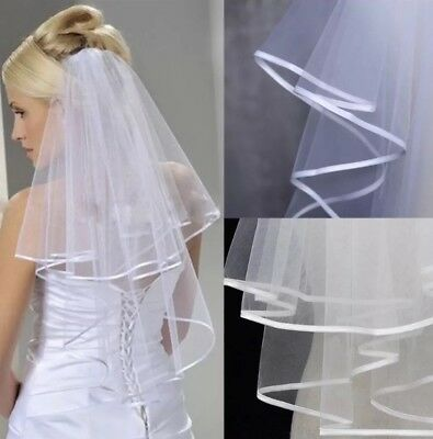 Bridal Wedding Ivory Veil 1 Tier With Comb Cut Edge With Beads Soft Swiss Net