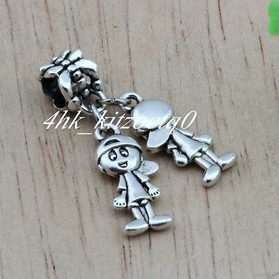10pcs Ancient silver Twins brothers Charm Dangle for European Bead Bracelet