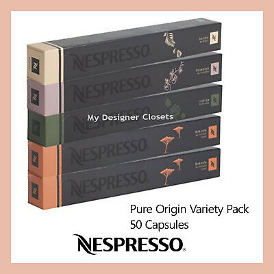50 Capsules Nespresso Coffee Pure Origin Variety Pack Mixed Pods