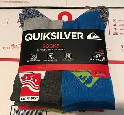 New 6 Pack Boys Quiksilver Socks Ages 6-8 Swift-dry Shoe Size 11 12 13 1 2 3 4