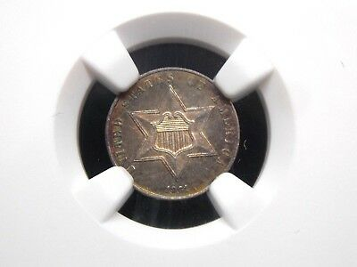 1861 Three Cent Silver 3CS  NGC UNC Details (MS) Rainbow Toning   ECC&C, Inc.