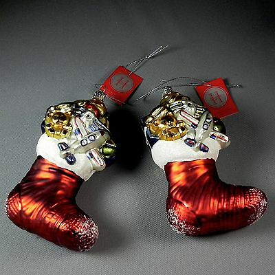 PAIR Home for the Holidays Glass Christmas Stocking Ornaments Twins Poland Blown