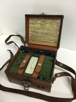 Evershed & Vignoles Ltd 3 Terminal Megger Meter Green Bakelite In Leather Case