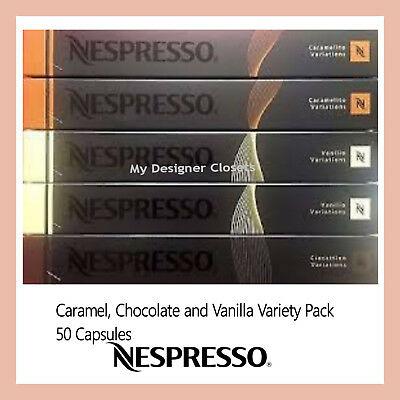 50 Capsules Nespresso Coffee Caramel Chocolate Vanilla Variety Pack Mixed Pods
