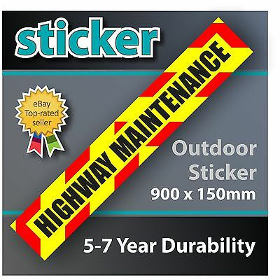 Highway Maintenance Sign Sticker with chevrons 900 x 150mm Laminated Matt Decal