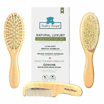 Baby Wooden Hair Brush and Comb Set for Newborns & Toddlers | NEW Gift Packaging