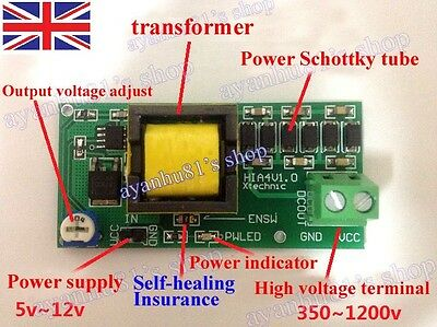 High Voltage DC-DC Boost Converter 5V-12V Step up to 300V-1200V Power Module