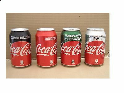 2017 New  Completed  Set Coca Cola Cyprus  Greece Stevia Light Zero Reg  4 Cans