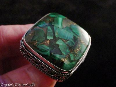 HUGE Old World .925 Sterling Silver Natural Copper Malachite Gemstone Ring