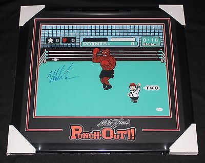 Framed Mike Tyson Signed Punch Out 16x20 Photo JSA Witnessed
