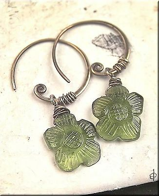 Carved Flower TOURMALINE Sterling Silver Wire Wrapped Detail Pierced Earrings
