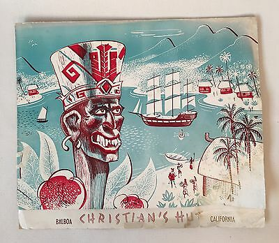 RARE Vintage Christian's Hut Balboa California Dinner Menu TIKI  not mailer