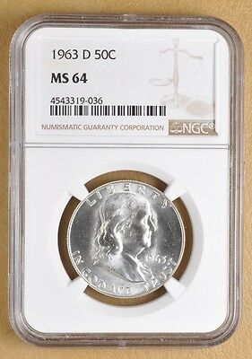 1963 D Franklin Silver Half Dollar NGC MS64