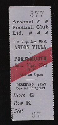 MEGA RARE 1929 Aston Villa v Portsmouth FA Cup semi ticket: Highbury, Arsenal