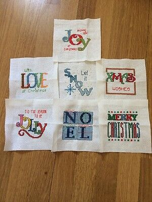 7 X Completed Cross Stitch Christmas Themed