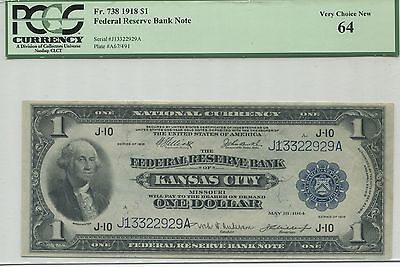 1918 Fr-738 Federal Reserve $1 Bank Note, Kansas City - PCGS Choice Unc 64