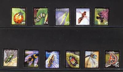 ca. BEE, BUTTERFLY, DRAGONFLY INSECTS 11 stamps collection MNH Canada 2007-12