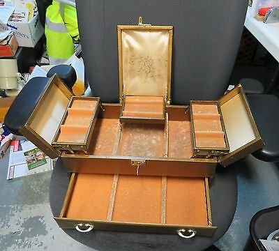 Vintage Mele Jewelry Case LARGE 3 Tier Gold with KEY