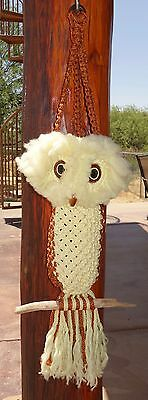 Vintage Owl Macrame Plant Holder Hanging Rust Yellow