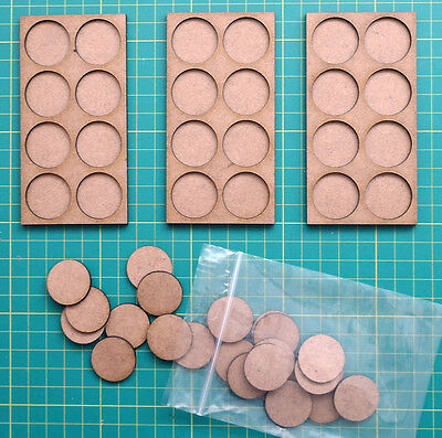 MOVEMENT TRAYS.  Pack of Three trays and 24 bases. 25mm diameter bases.