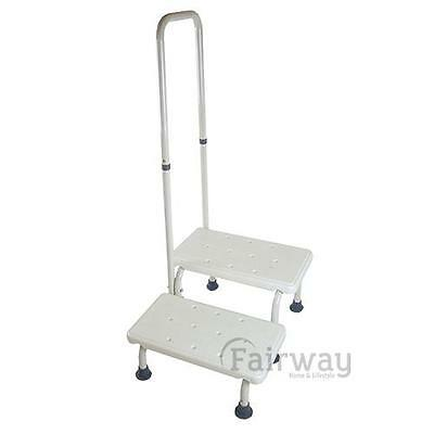 Heavy Duty Double Bathroom Bedroom Step Fixed Handrail Mobility Daily Living Aid