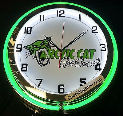 "19"" Double Neon Clock Arctic Cat Got Snow Snowmobile Off Road Racing Green Neon"