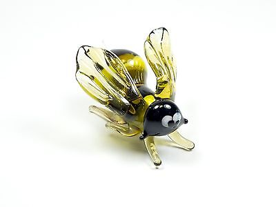 Glass figurine Bee. Striped Yellow Glass Murano handmade Miniature. See VIDEO