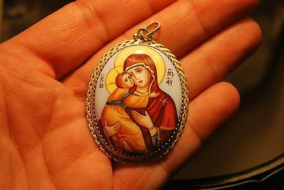 Beautiful Vintage Sterling Silver Hand Painted Enamel Mary Baby Jesus Pendant