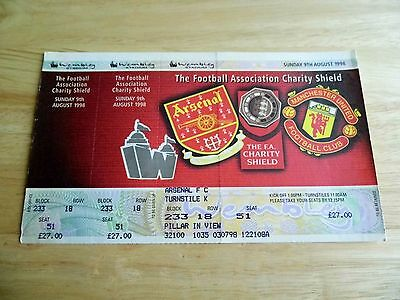 1998 Charity Shield Arsenal v Manchester United Unused Ticket (Arsenal Seat)