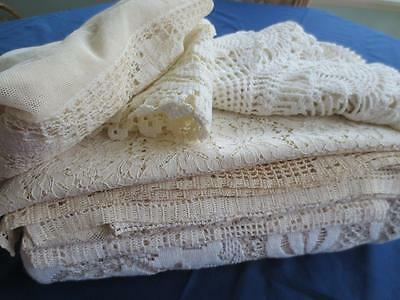 FAB 18 Pc Vintage Lace Lot Alecon, Net Filet, Cutwork, Reticella, Tatted