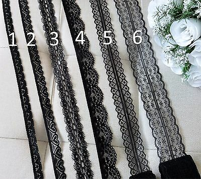 Pretty BLACK LACE embroidered trim ribbon sewing craft scrapbooking