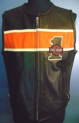 Harley-Davidson Cafe Racer Leather Vest Men Size Medium Orange Black Motor Cycle