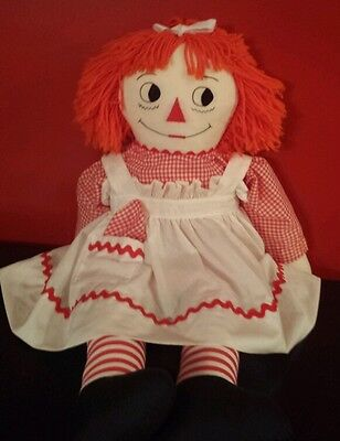"""Vintage Raggedy Ann Large 35"""" Doll I Love You & Original Dress with handkerchief"""