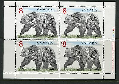 Canada $8 Grizzly Bear Sheet of 4, Scott 1694 NH 1996